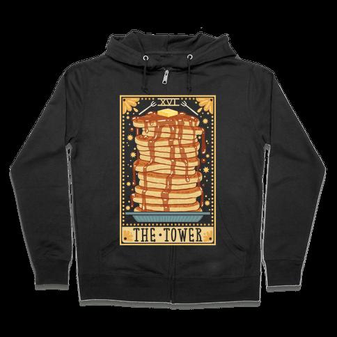 Tarot Card: The Tower (Of Pancakes) Zip Hoodie