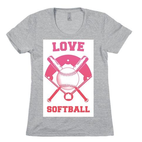 Love Softball Womens T-Shirt