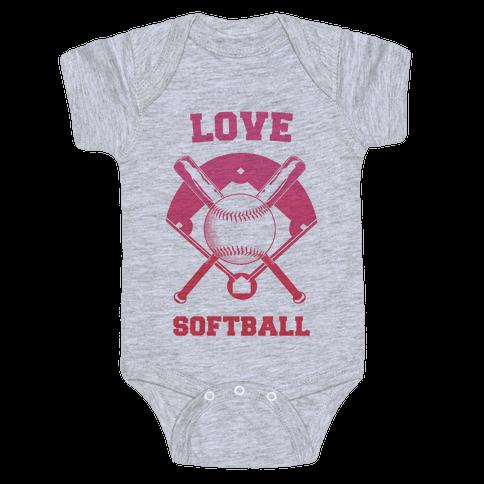 Love Softball Baby Onesy