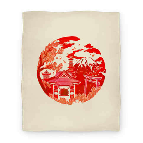 Japan's Mount Fuji and Shinto Shrines Inside the Rising Sun Blanket
