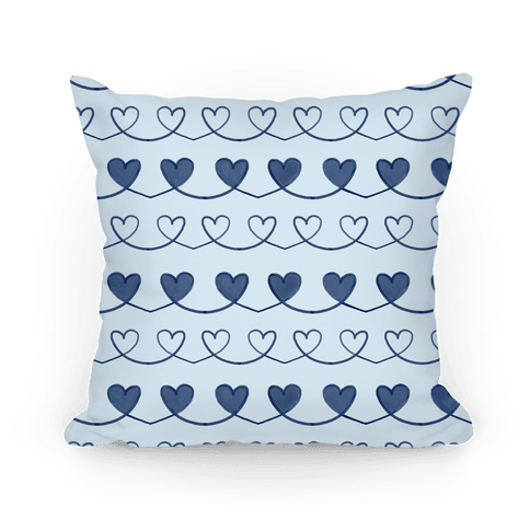 Blue Heart Doodle Pattern Pillow