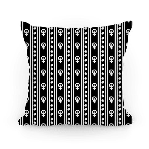Black and White Feminist Symbol Pattern Pillow