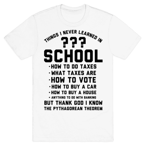 Things I Never Learned In School Mens T-Shirt
