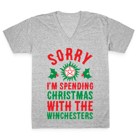 Sorry I'm Spending Christmas With The Winchesters V-Neck Tee Shirt