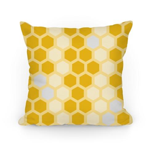 Large Yellow Geometric Honeycomb Pattern Pillow