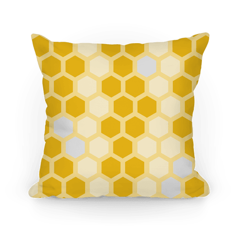 Large Yellow Geometric Honeycomb Pattern Pillow
