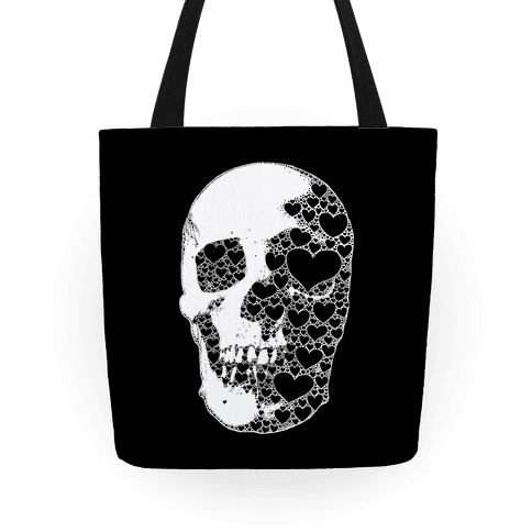 Heart Skull Tote Bag