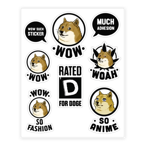Doge Meme Sticker and Decal Sheet