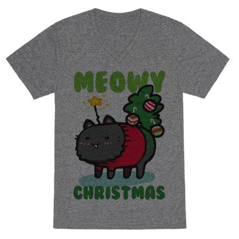 Meowy Christmas V-Neck Tee Shirt