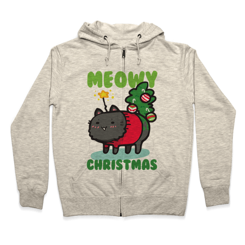 Meowy Christmas Zip Hoodie