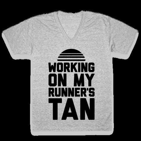 Working On My Runner's Tan V-Neck Tee Shirt