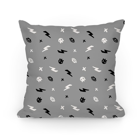 Punk Rock Pattern (Gray) Pillow