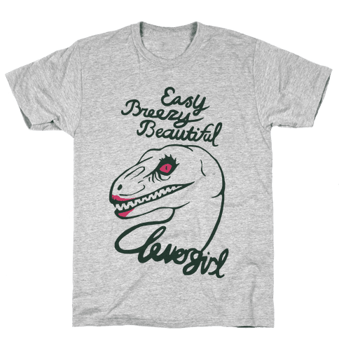 Easy Breezy Beautiful, Clever Girl Velociraptor Mens T-Shirt