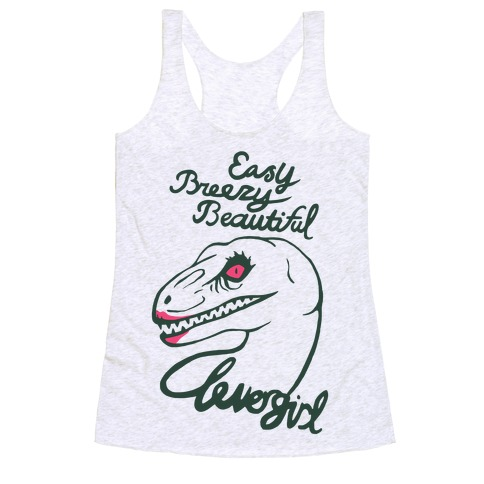 Easy Breezy Beautiful, Clever Girl Velociraptor Racerback Tank Top