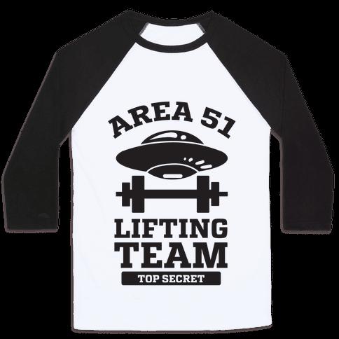 Area 51 Lifting Team Baseball Tee