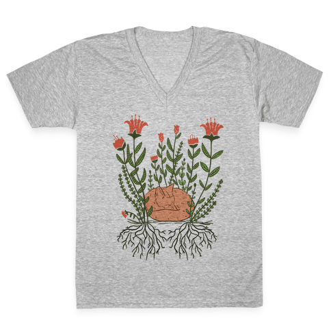 Sleeping Fox V-Neck Tee Shirt