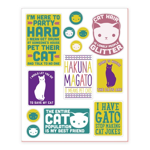Cat Lover Sticker and Decal Sheet