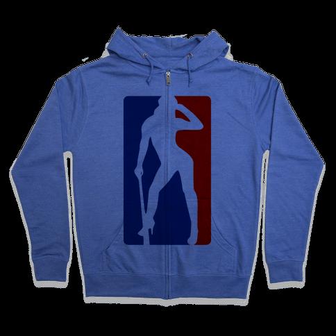 Cleat Chaser (Sexy NBA Logo Parody) Zip Hoodie