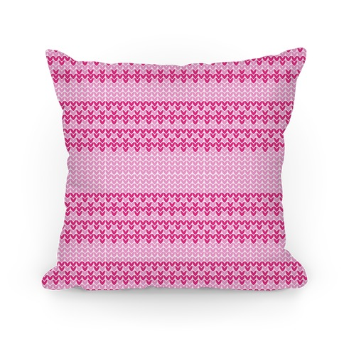 Faux Knitted Sweater Pink Pattern Pillow