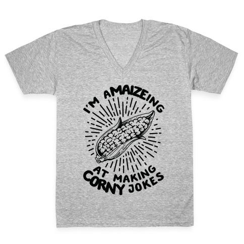 A-maize-ing Corny Jokes V-Neck Tee Shirt