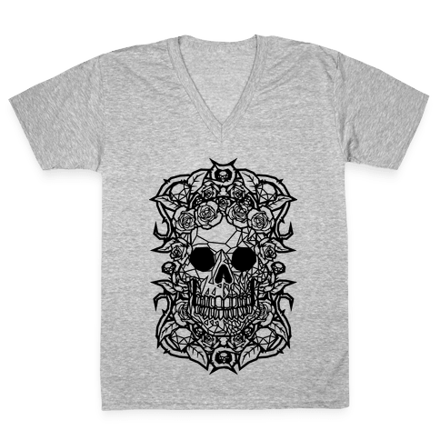Punk Diamond Skull V-Neck Tee Shirt