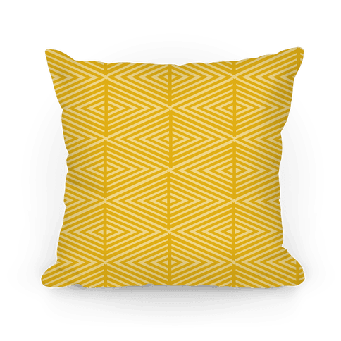 Yellow Geometric Diamond Pattern Pillow