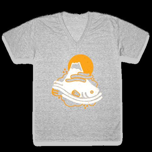 Mount Fuji Fish V-Neck Tee Shirt