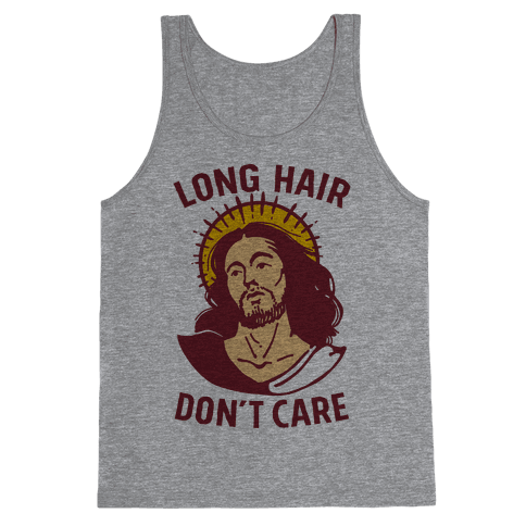 Long Hair Don't Care Jesus Tank Top