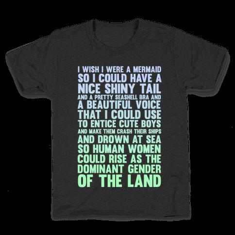 Wish I Was a Mermaid Kids T-Shirt