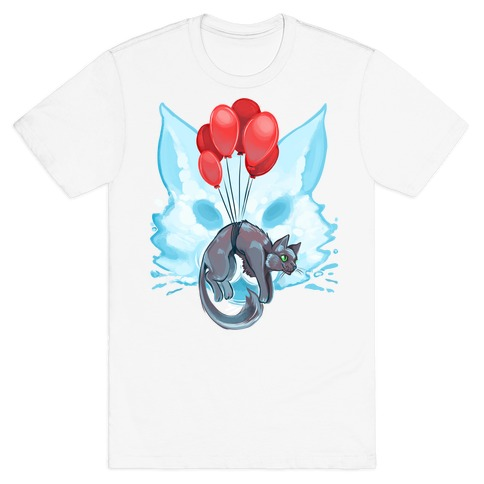 Red Balloon Cat Explorer Mens T-Shirt