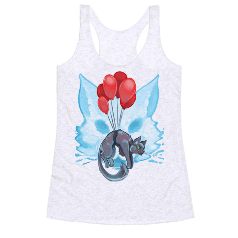 Red Balloon Cat Explorer Racerback Tank Top