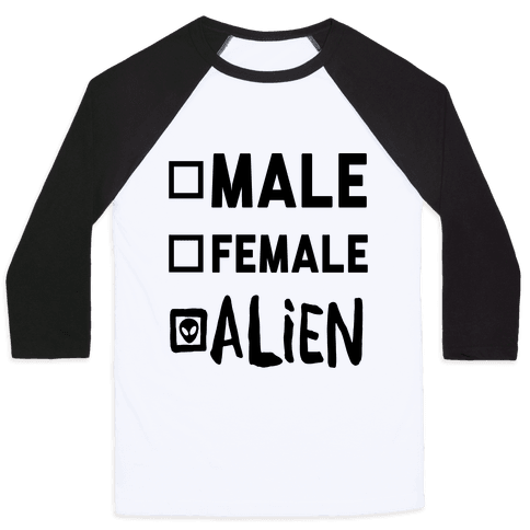 Male Female Alien Baseball Tee