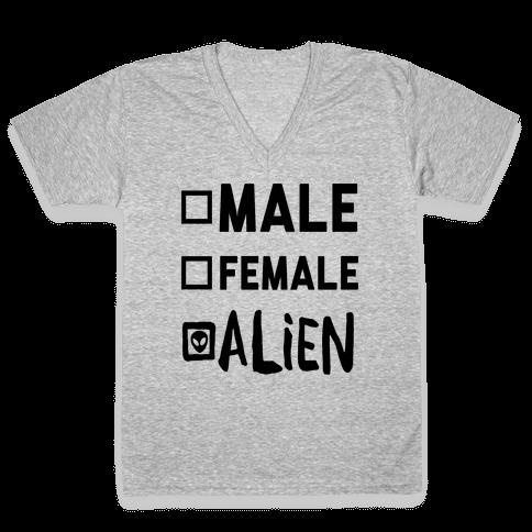 Male Female Alien V-Neck Tee Shirt