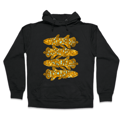 Geometric Jeweled Coelacanth Fish Hooded Sweatshirt