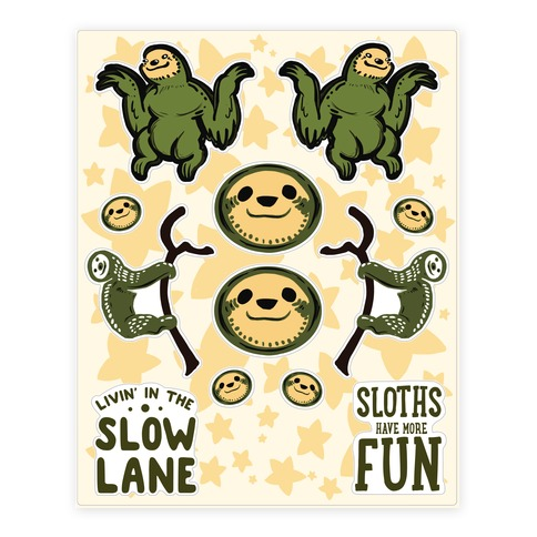Sloth Sticker and Decal Sheet