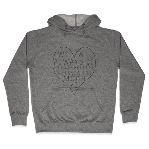 We Will Always be Friends Because You Know Too Much Hooded Sweatshirt