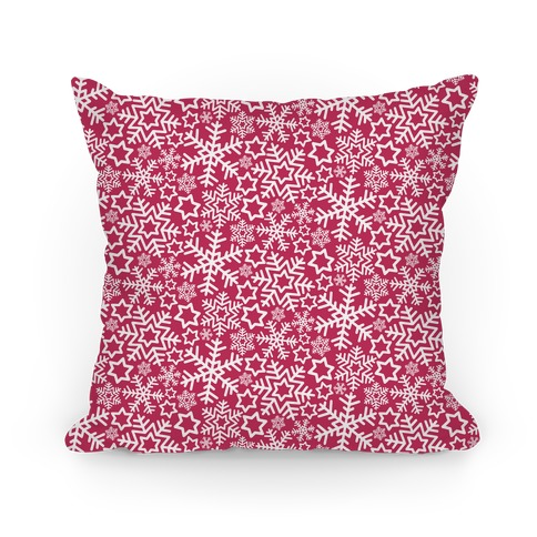Winter Snowflakes Red Pattern Pillow