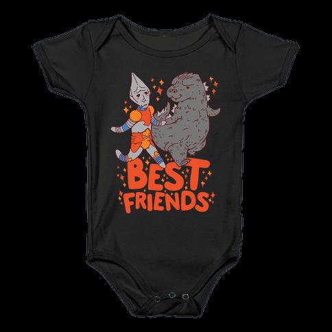 Best Friends Jet Jaguar & Godzilla Baby Onesy