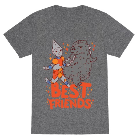 Best Friends Jet Jaguar & Godzilla V-Neck Tee Shirt