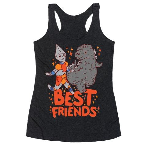 Best Friends Jet Jaguar & Godzilla Racerback Tank Top