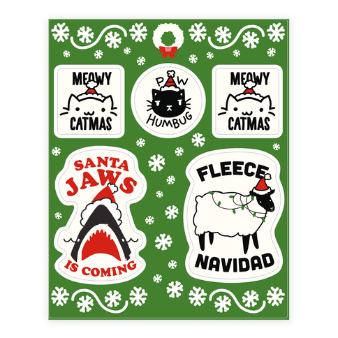 Festive Fun Christmas Animal Pun  Sticker/Decal Sheet