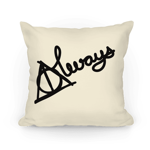 Hallows Always Pillow (Black On White) Pillow