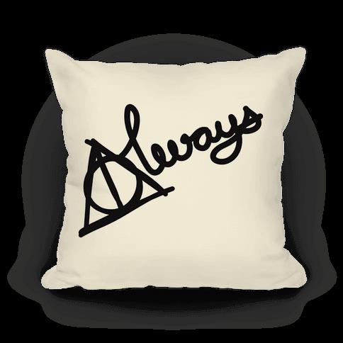 Hallows Always Pillow (Black On White)
