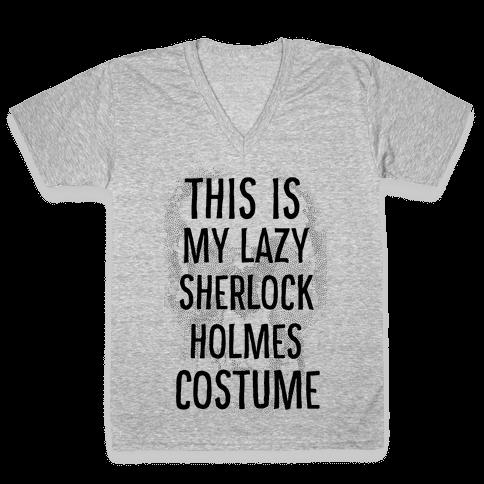 Lazy Sherlock Holmes Costume V-Neck Tee Shirt