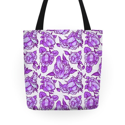 Floral Penis Pattern Purple Tote