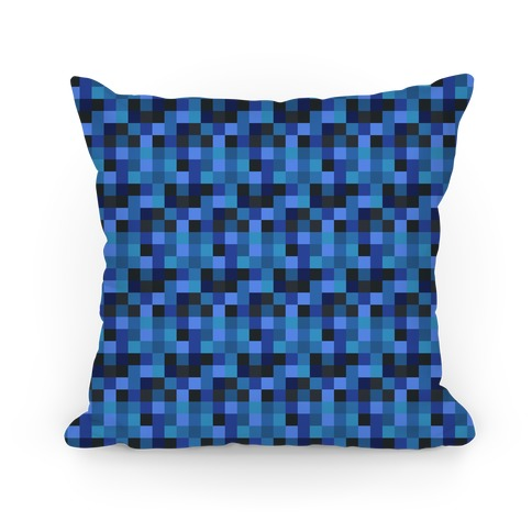 Blue Gamer Pixel Pattern Pillow