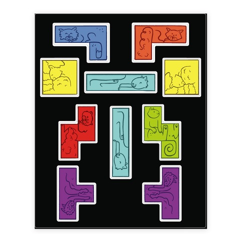 Tetris Cats  Sticker/Decal Sheet