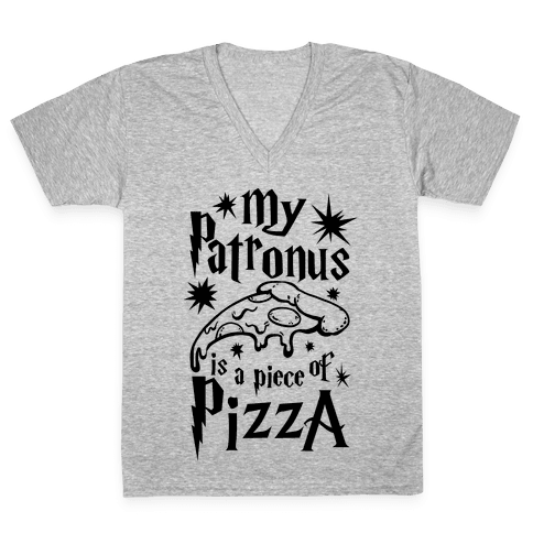 My Patronus is a Piece of Pizza V-Neck Tee Shirt