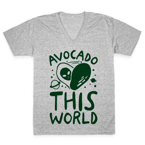 Avocado This World V-Neck Tee Shirt