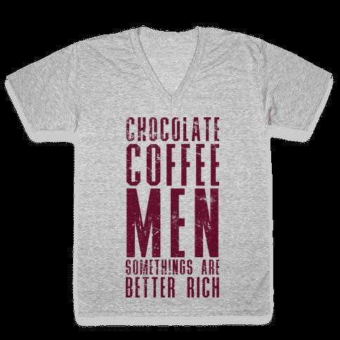 Chocolate Coffee Men V-Neck Tee Shirt